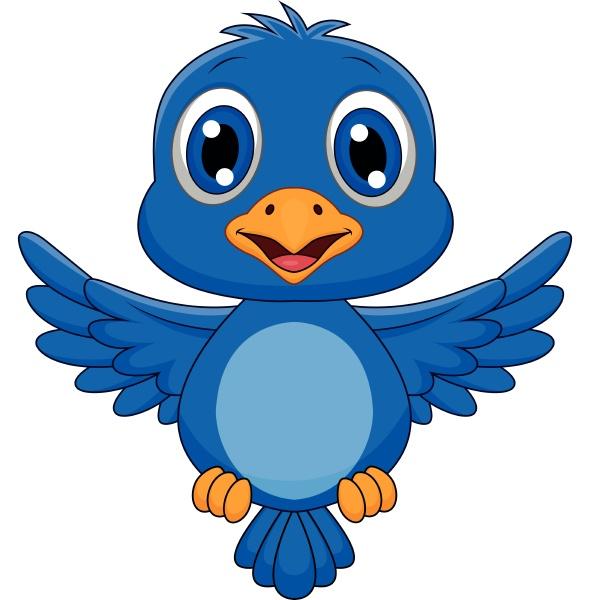 lindo pajaro azul caricatura volando