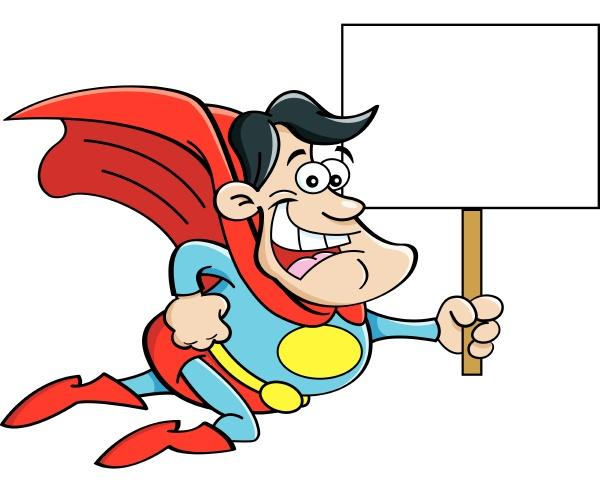 cartoon, illustration, of, a, flying, superhero - 28215705