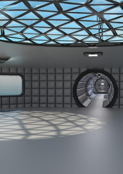 corredor de ciencia ficcion en 3d