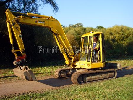 excavadora amarillo hombre cadenas schaufelbagger raupenbagger