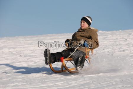 invierno trineo tobogan nieve ninyo rapido