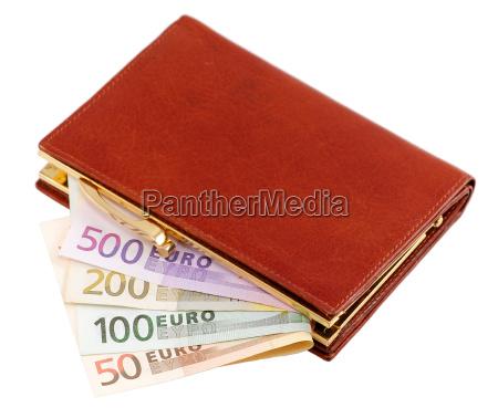 monedero con billetes de euro
