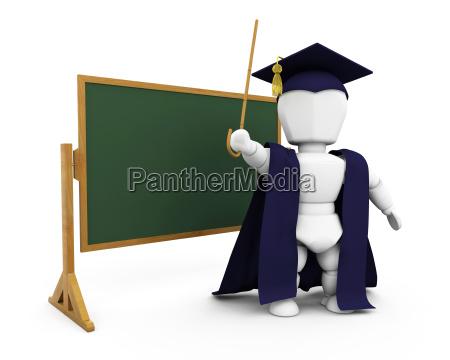 teacher by blackboard