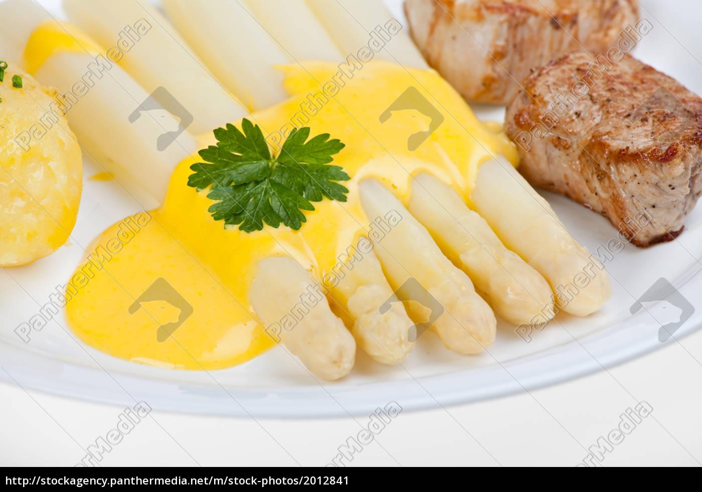 espárragos, blancos, y, salsa, holandesa - 2012841