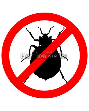 senyal de prohibicion para las chinches