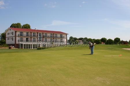 golfo campo de golf poner golfista