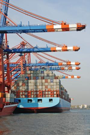 barco de contenedores puerto hamburgo puertos