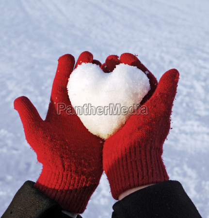 invierno guantes bola de nieve amor