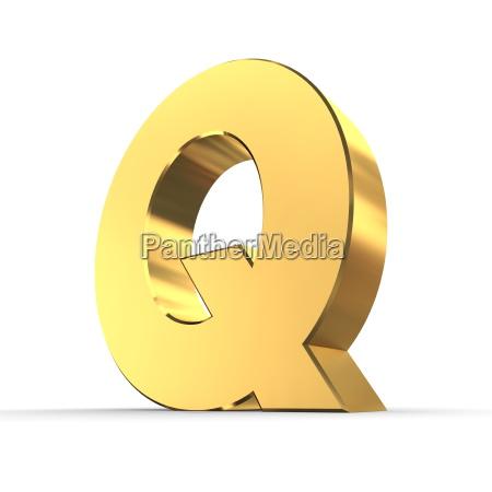 carta brillante q de oro