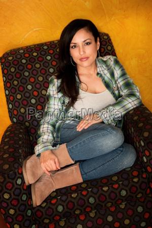 pretty latina woman in casual clothes