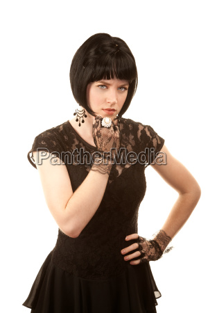 retro woman with black hair and