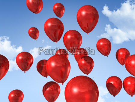 red balloons on a blue sky