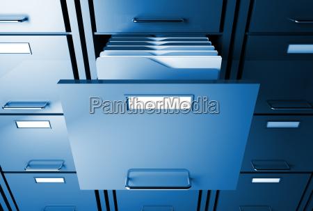 gabinete de fichero y la carpeta