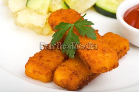 fish sticks and potato salad