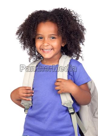 ninya del estudiante con hermosos cabellos