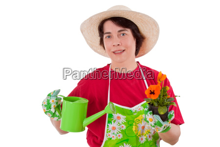 woman plant flower flowers flowerpot pour