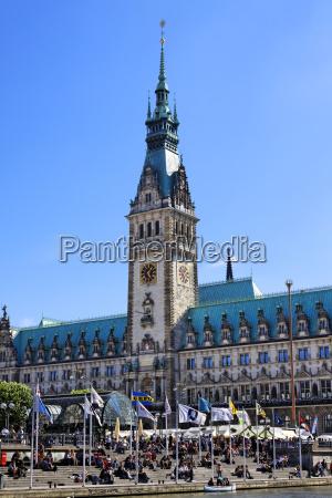 torre ciudad hamburgo ayuntamiento plaza estilo