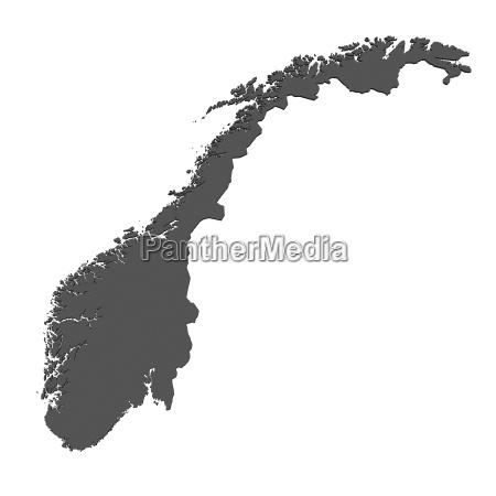 mapa de noruega aislado