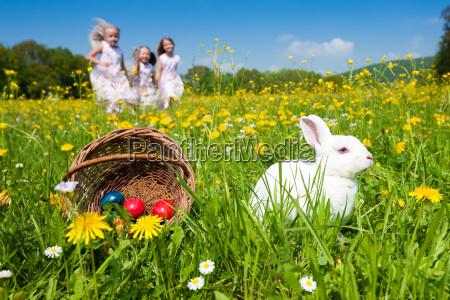 ninyos en caza del huevo de