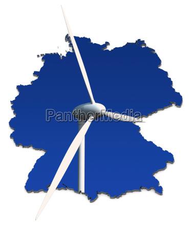 windkraftrad antes azul alemania mapa