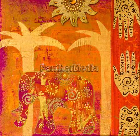 collage con elefante