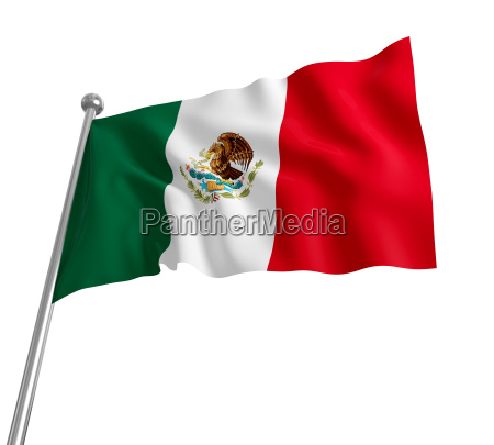 3d mexican flag on white background