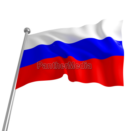 3d flag of russia on white
