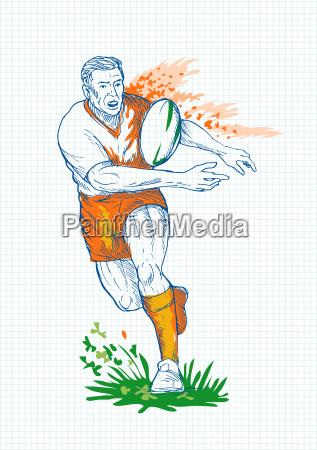 el jugador de rugby corriendo y