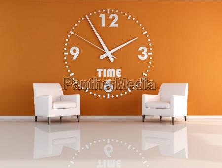 silla muebles espacio interior reloj minimalista