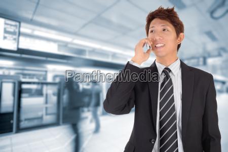 business man using cellphone