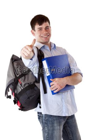 exitosos felices estudiante que muestra los