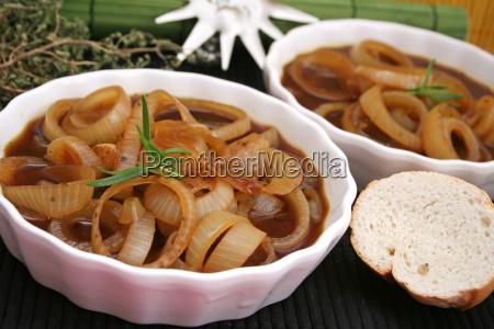comida vegetal cebollas vegetariano sopa de