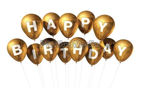 gold happy birthday balloons
