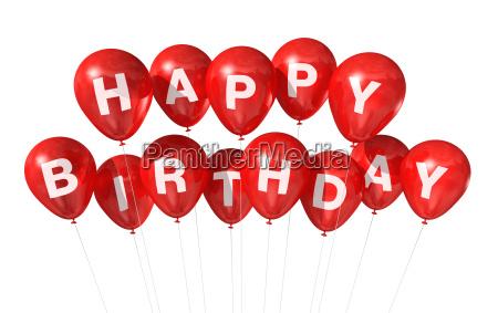 red happy birthday balloons