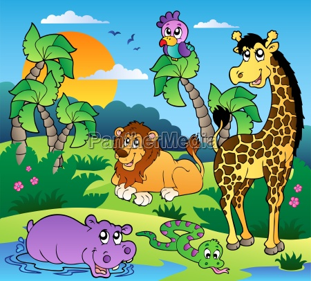 african scenery with animals 1