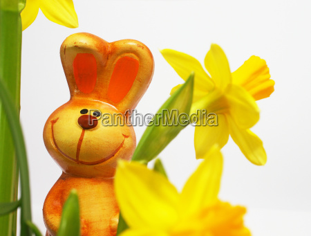 happy easter bunny with flowers