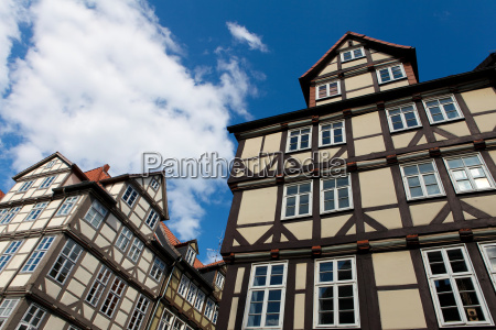 typical half timbered houses in hannover