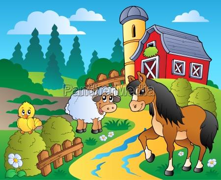 escena del pais con el granero