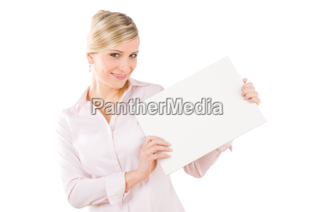happy businesswoman hold aside empty white