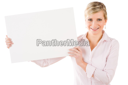 happy businesswoman hold aside empty banner