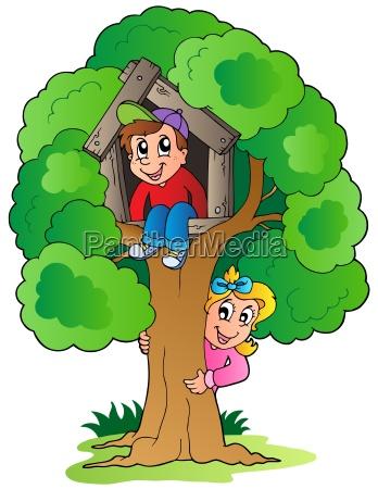 arbol con dos ninyos de dibujos