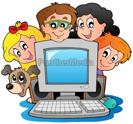 ordenador con ninyos de dibujos animados