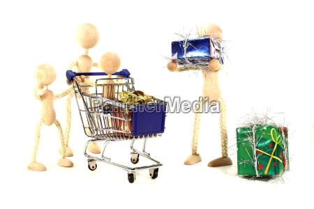 family at christmas shopping