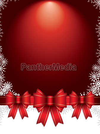 christmas background with bows and snowflakes