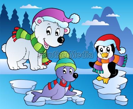 winter scene with various animals 4