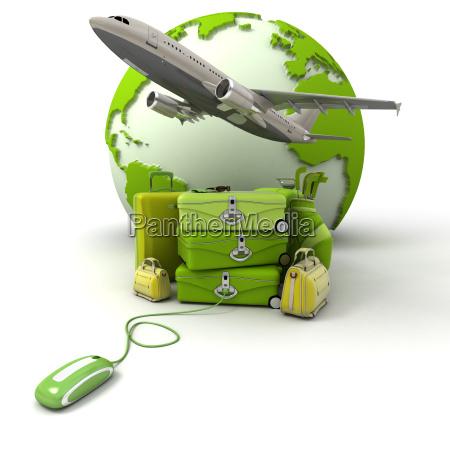 bolso paseo viaje vuelo verde ruedas