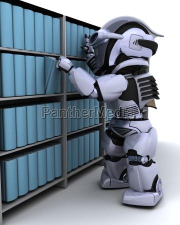 robot at bookshelf