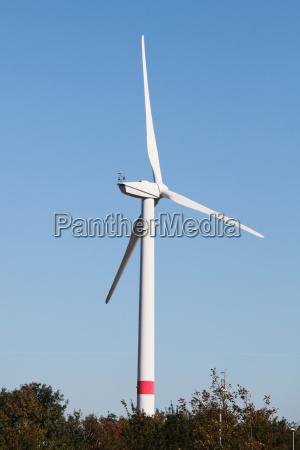 a single wind turbine in front