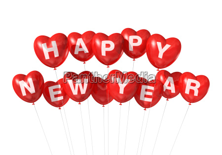 red happy new year heart shaped