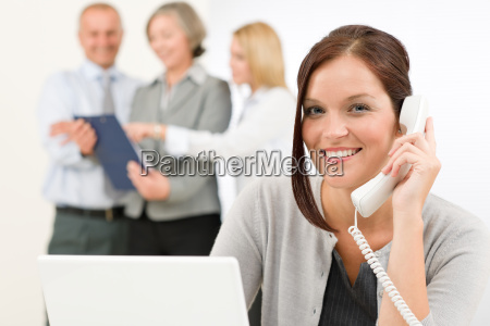 business team pretty businesswoman calling phone